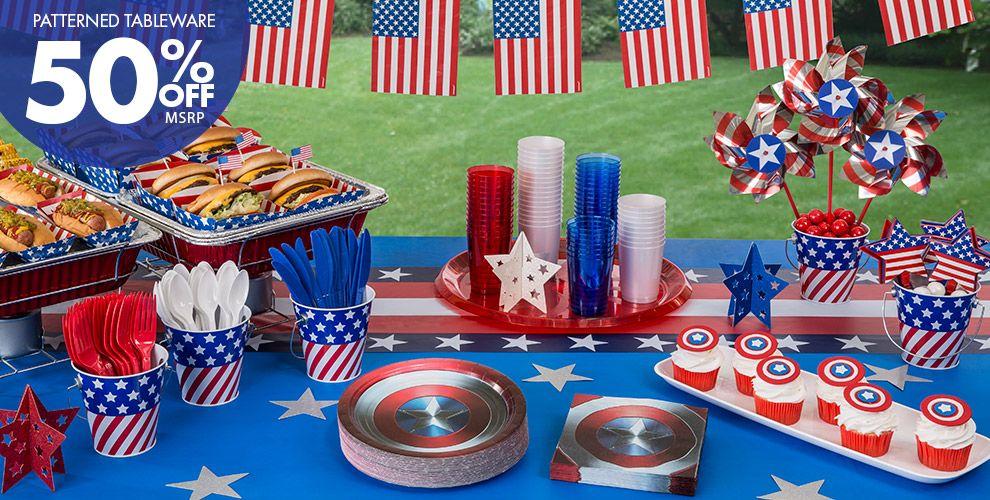 Captain america patriotic party supplies captain america for American party decoration