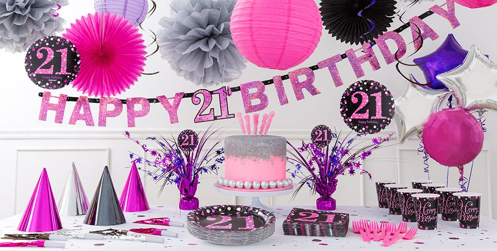 Pink sparkling celebration 21st birthday party supplies for 21st birthday decoration