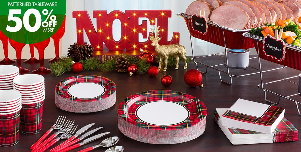 holiday plaid party supplies party city. Black Bedroom Furniture Sets. Home Design Ideas