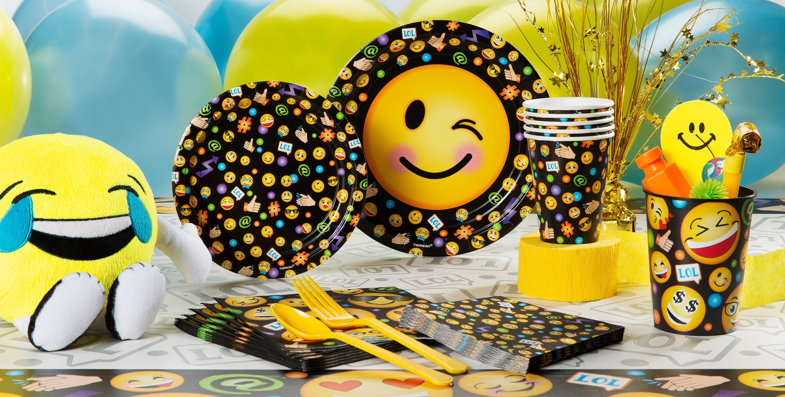 Emoji party supplies party city for Decoration emoji