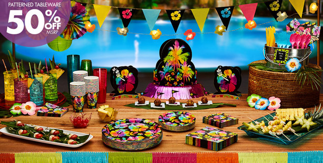 Neon Hibiscus Party Supplies Hawaiian Luau Party Theme