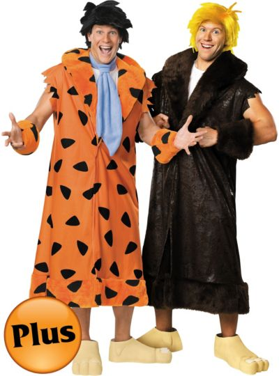 Plus Size Fred Flintstone and Barney Rubble Couples Costumes