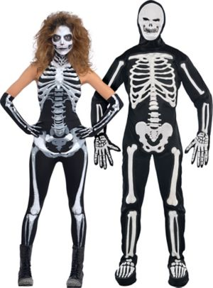Adult Bone-A-Fied Babe Skeleton & Frightening Bones Skeleton Couples Costumes
