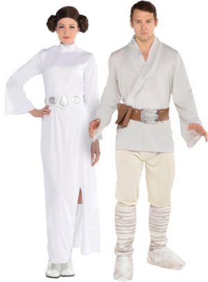 Adult Luke Skywalker & Princess Leia Couples Costumes - Star Wars