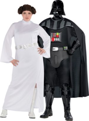 Adult Princess Leia & Darth Vader Couples Costumes Plus Size - Star Wars