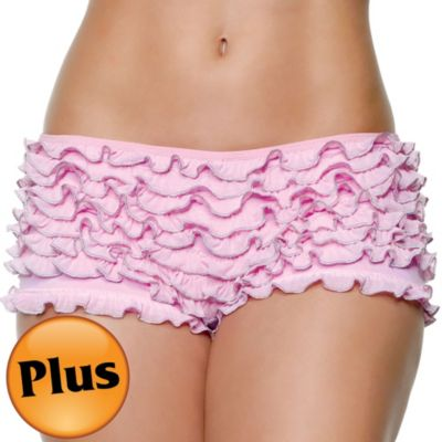 Adult Pink Ruffled Boyshorts Plus Size