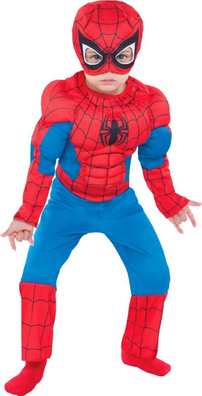 Spiderman Halloween Costumes | Toddler Boys Classic Spiderman Muscle Costume Party City