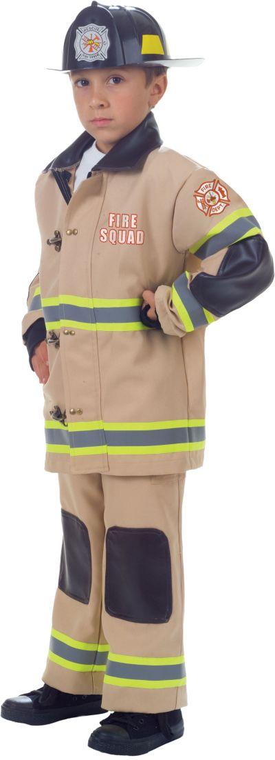 Boys Tan Fireman Costume Deluxe