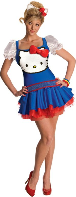 Adult Blue Classic Hello Kitty Costume