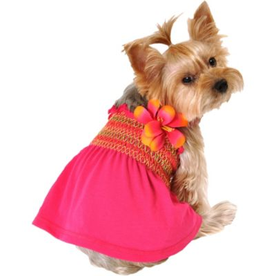 Hot Pink Smocked Dog Dress