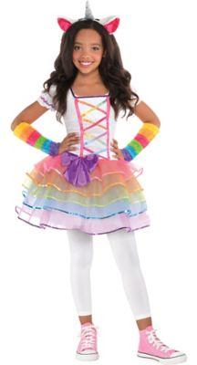 sc 1 st  Party City & Girls Rainbow Unicorn Costume | Party City