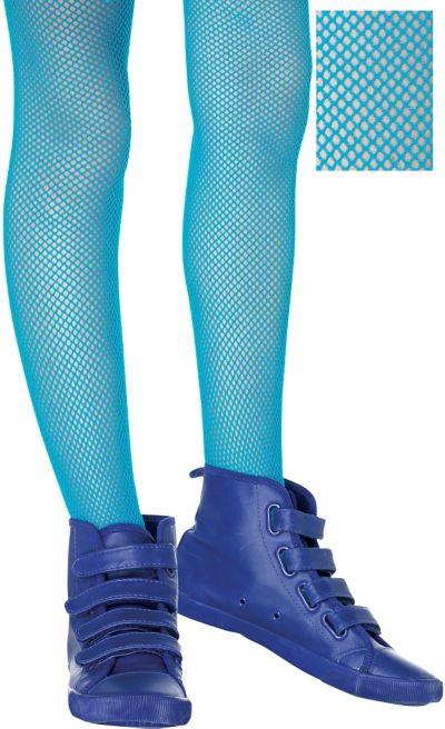Child Neon Blue Fishnet Tights