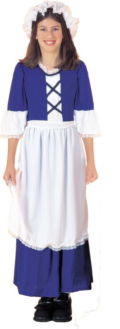 Girls Blue Colonial Girl Costume
