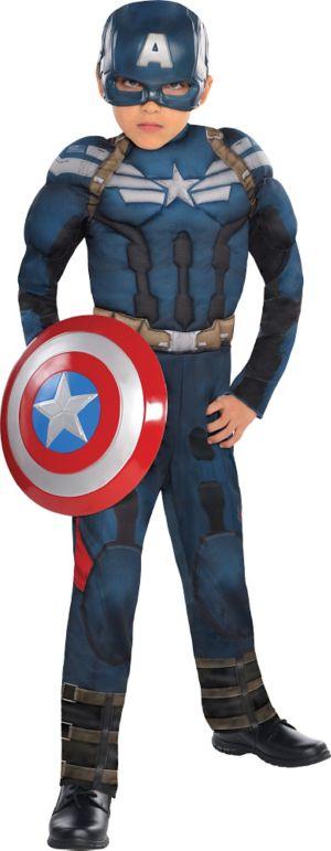 Boys Captain America Muscle Costume - Captain America 2