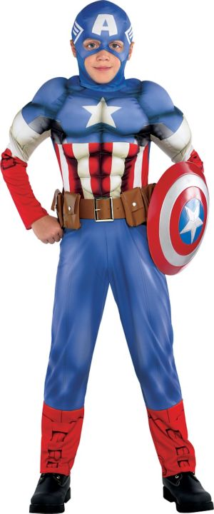 Boys Captain America Muscle Costume Classic