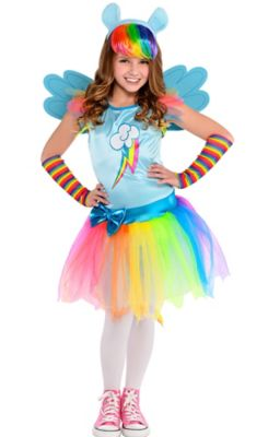 sc 1 st  Party City & Girls Rainbow Dash Costume - My Little Pony | Party City