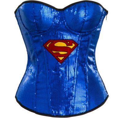 Adult Sequin Supergirl Corset - Superman