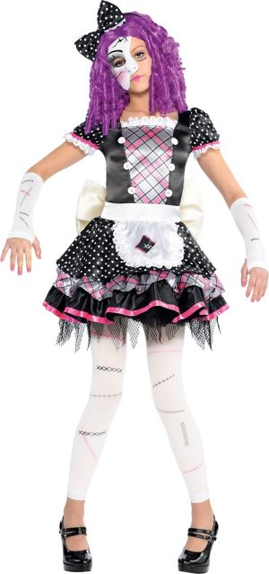 Girls Damaged Doll Costume