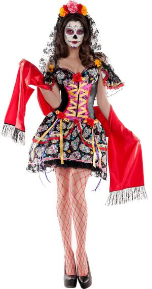 Adult La Catrina Sugar Skull Body Shaper Costume - Day of the Dead