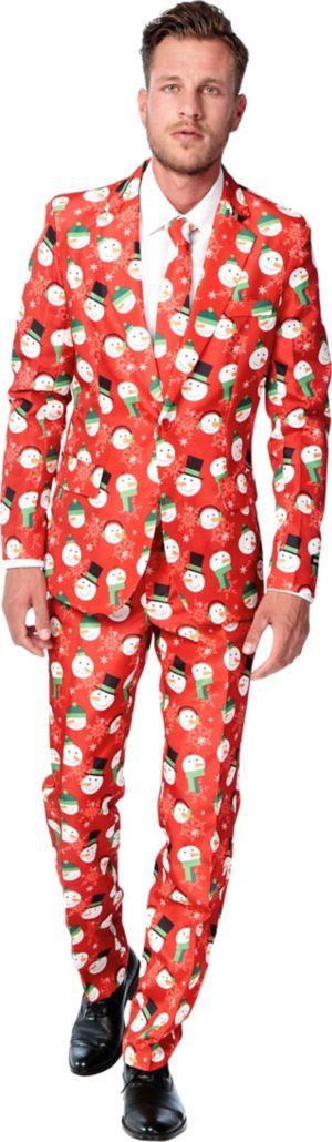 Adult Snowman Print Suit