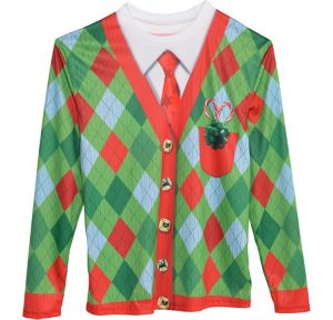 Argyle Ugly Christmas Sweater Long-Sleeve Shirt