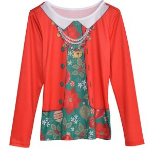 Ugly Christmas Sweater & Necklace Long-Sleeve Shirt