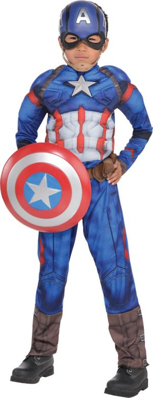 Boys Captain America Muscle Costume - Captain America: Civil War