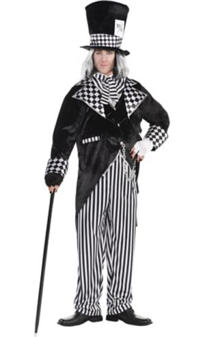 Adult Black & White Mad Hatter Costume Plus Size