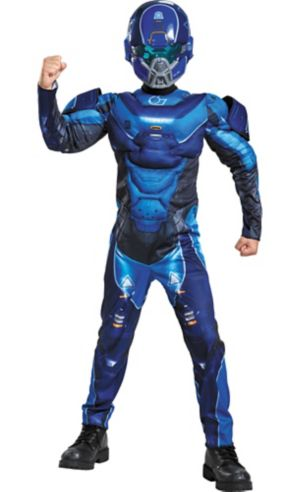 Boys Blue Spartan Muscle Costume - Halo
