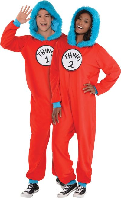 Adult Thing 1 Thing 2 One Piece Costume Dr Seuss