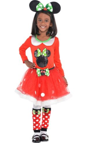 Girls Holiday Minnie Mouse Costume Deluxe