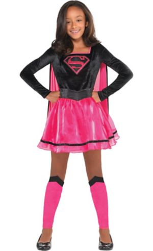 Girls Pink Supergirl Dress Costume - Superman