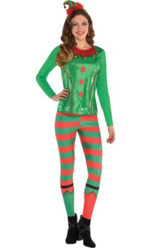 Adult Sequin Elf Long-Sleeve Shirt