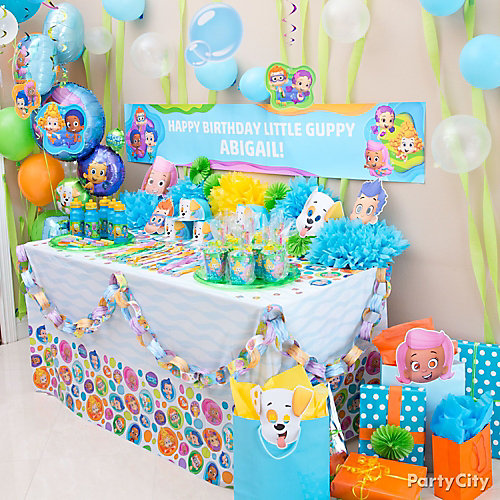 Bubble guppies favor table idea party city - Bubble guppie birthday ideas ...