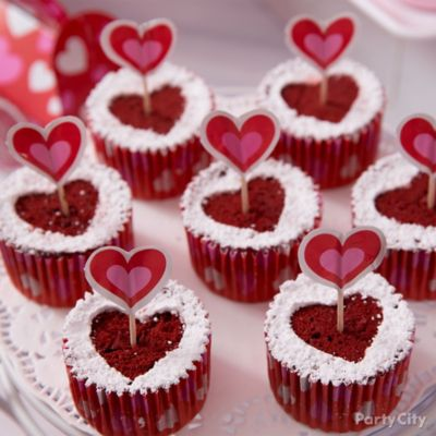 Red Velvet Heart Cupcakes Idea