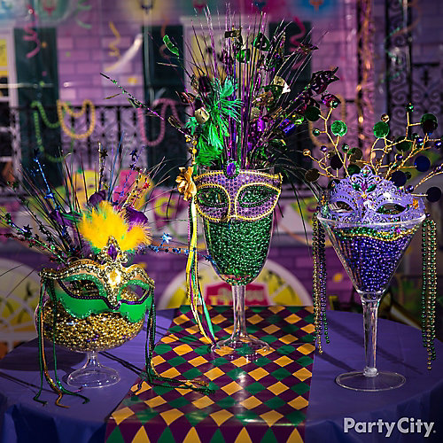 Mardi gras beads display idea decorating