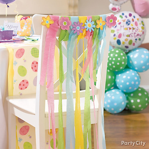 Flower and streamer chair sashes diy party city - How to decorate with spring flowers ...