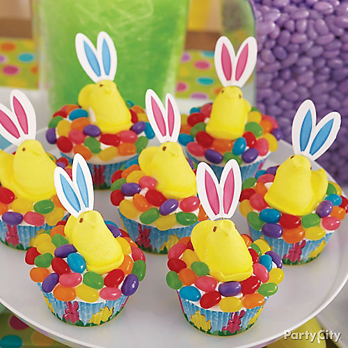 Peeps Jelly Beans and Ears Cupcakes How To
