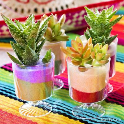 Mexican Party Mini Cactus Decorations Idea
