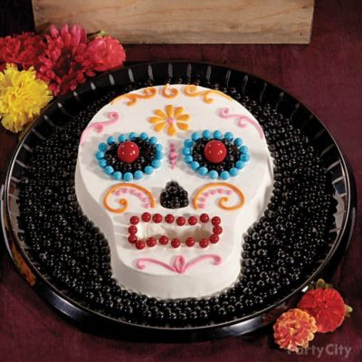 Day of the Dead Candy Sugar Skull Cake How To Party City