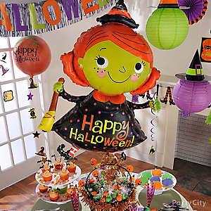Happy Halloween Witch Balloon & Cauldron Idea