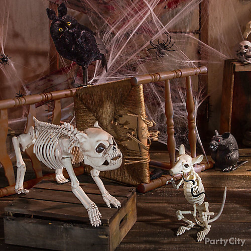 Haunted House Skeleton Rat & Dog Idea