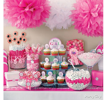 Attractive Girl Baby Shower Treats Table Idea