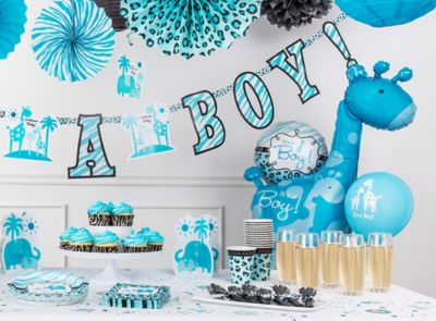 Blue Safari Baby Shower Ideas Go Wild With Animal Print Favors Sweets And Decorations