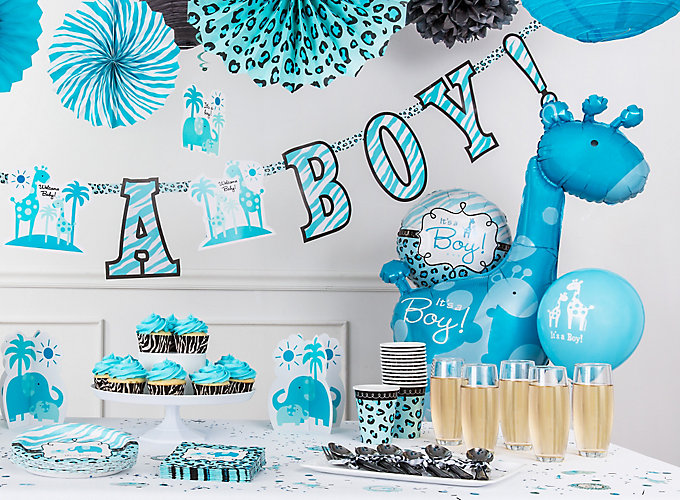 Blue safari boy 39 s baby shower ideas party city for Baby shower decoration supplies