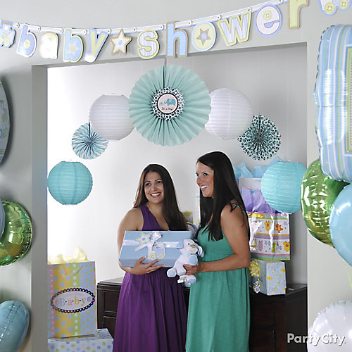 Boy baby shower photo backdrop idea party city for Baby shower hall decoration