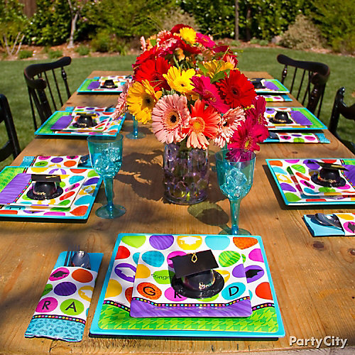 Colorful Grad Tableware Idea Colorful Graduation Party