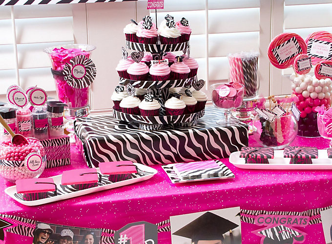 Pink and Zebra Graduation Dessert Ideas