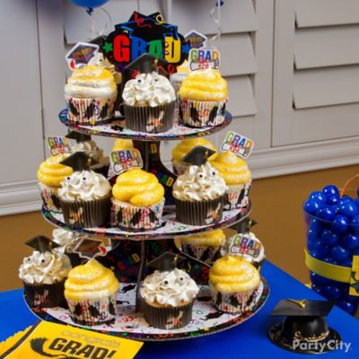 School Colors Grad Cap Cupcake Tower Idea