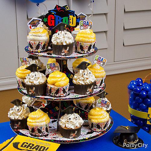School Colors Grad Cap Cupcake Tower Idea